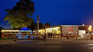 Vickers Tavern outside at night